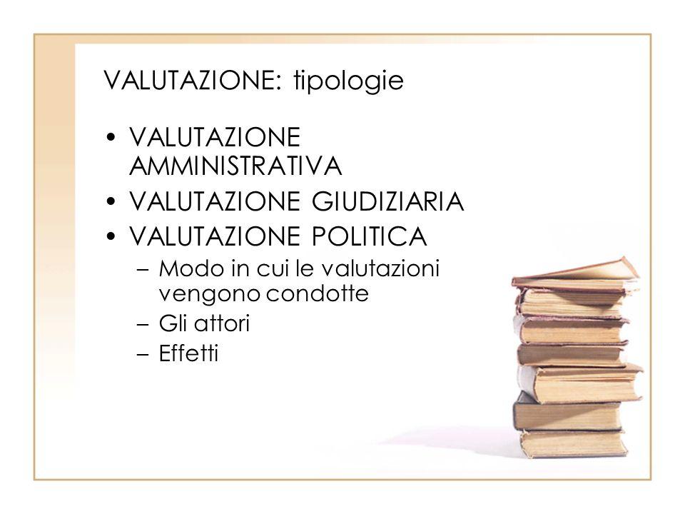 VALUTAZIONE: tipologie VALUTAZIONE AMMINISTRATIVA VALUTAZIONE GIUDIZIARIA VALUTAZIONE POLITICA –Modo in cui le valutazioni vengono condotte –Gli attori –Effetti
