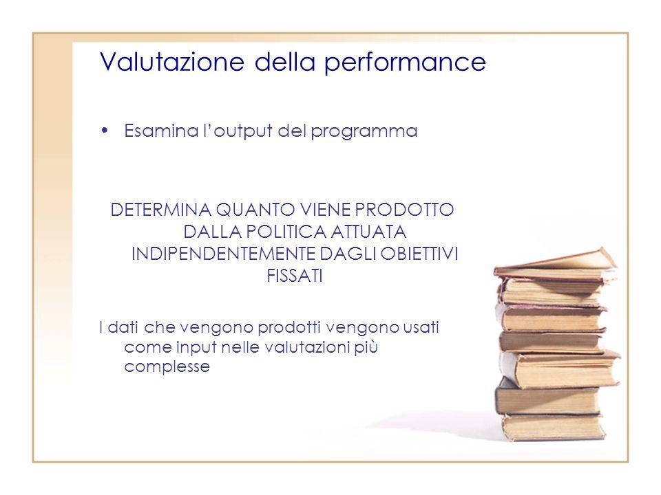 Valutazione della performance Esamina loutput del programma DETERMINA QUANTO VIENE PRODOTTO DALLA POLITICA ATTUATA INDIPENDENTEMENTE DAGLI OBIETTIVI FISSATI I dati che vengono prodotti vengono usati come input nelle valutazioni più complesse