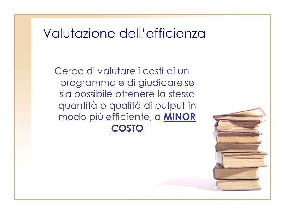 Valutazione dellefficienza Cerca di valutare i costi di un programma e di giudicare se sia possibile ottenere la stessa quantità o qualità di output in modo più efficiente, a MINOR COSTO