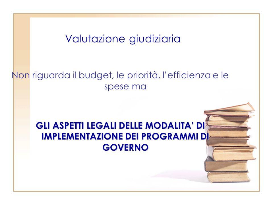 Valutazione giudiziaria Non riguarda il budget, le priorità, lefficienza e le spese ma GLI ASPETTI LEGALI DELLE MODALITA DI IMPLEMENTAZIONE DEI PROGRAMMI DI GOVERNO