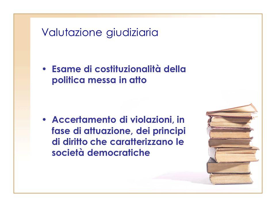 Valutazione giudiziaria Esame di costituzionalità della politica messa in atto Accertamento di violazioni, in fase di attuazione, dei principi di diritto che caratterizzano le società democratiche