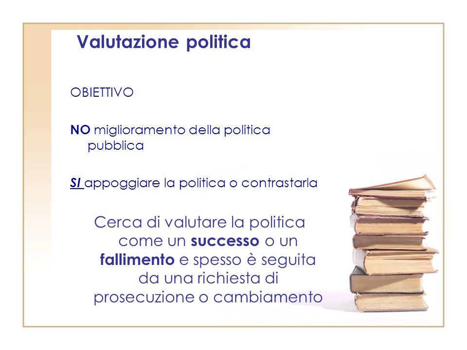 Valutazione politica OBIETTIVO NO miglioramento della politica pubblica SI appoggiare la politica o contrastarla Cerca di valutare la politica come un successo o un fallimento e spesso è seguita da una richiesta di prosecuzione o cambiamento