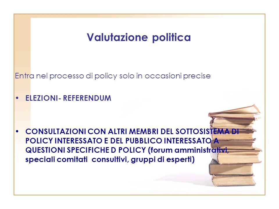 Valutazione politica Entra nel processo di policy solo in occasioni precise ELEZIONI- REFERENDUM CONSULTAZIONI CON ALTRI MEMBRI DEL SOTTOSISTEMA DI POLICY INTERESSATO E DEL PUBBLICO INTERESSATO A QUESTIONI SPECIFICHE D POLICY (forum amministrativi, speciali comitati consultivi, gruppi di esperti)