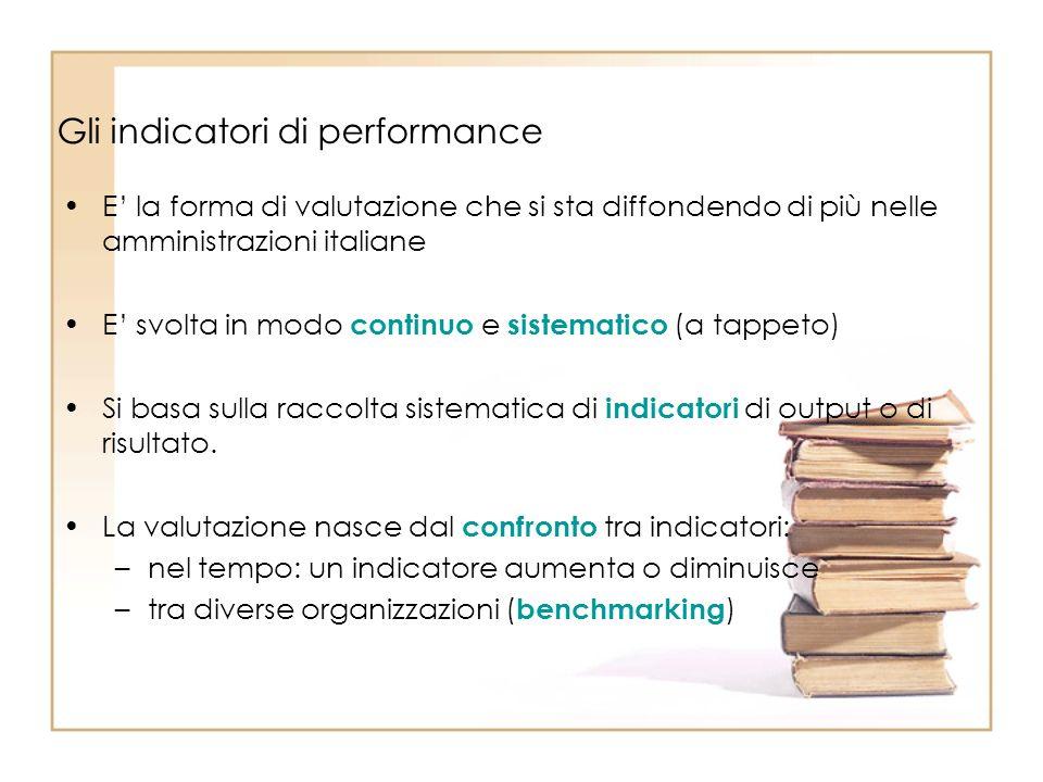 Gli indicatori di performance E la forma di valutazione che si sta diffondendo di più nelle amministrazioni italiane E svolta in modo continuo e sistematico (a tappeto) Si basa sulla raccolta sistematica di indicatori di output o di risultato.