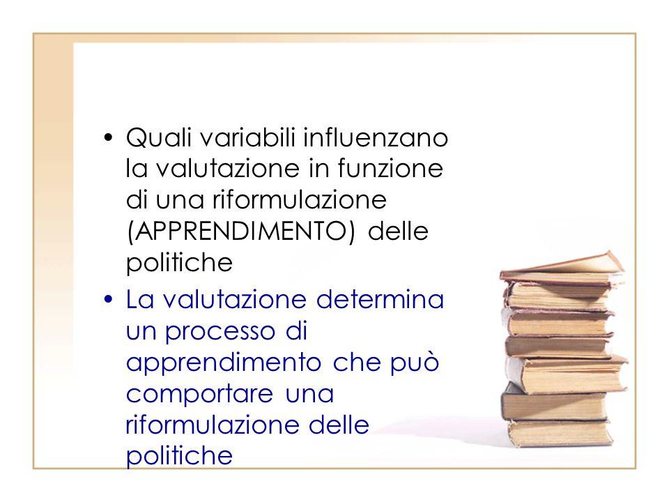 Quali variabili influenzano la valutazione in funzione di una riformulazione (APPRENDIMENTO) delle politiche La valutazione determina un processo di apprendimento che può comportare una riformulazione delle politiche
