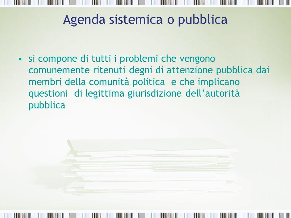 Agenda sistemica o pubblica si compone di tutti i problemi che vengono comunemente ritenuti degni di attenzione pubblica dai membri della comunità pol