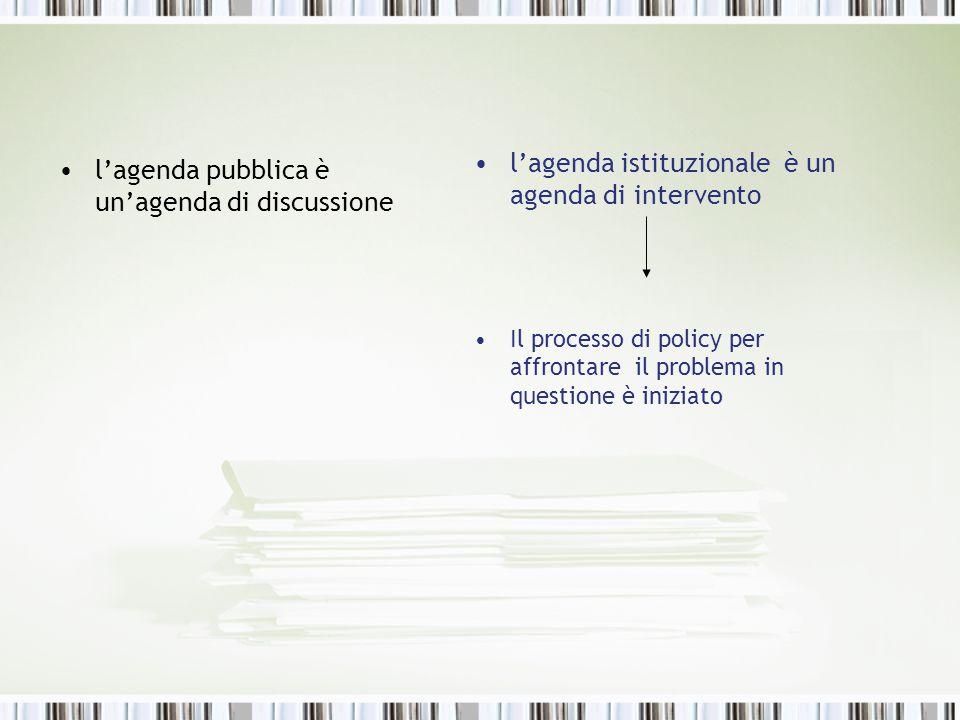 lagenda pubblica è unagenda di discussione lagenda istituzionale è un agenda di intervento Il processo di policy per affrontare il problema in questio