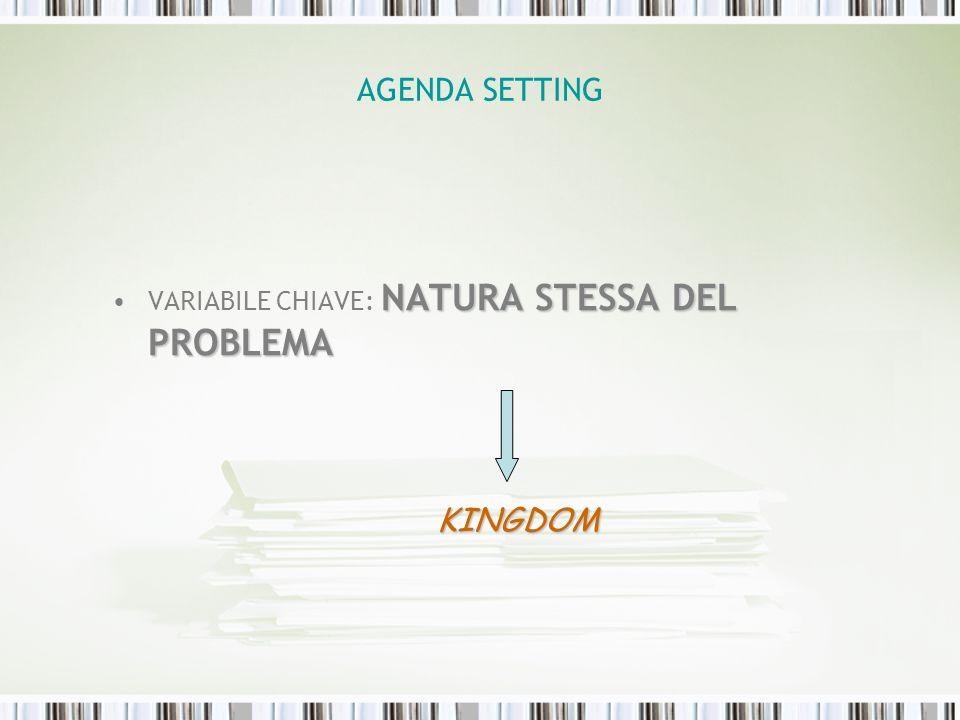 AGENDA SETTING NATURA STESSA DEL PROBLEMAVARIABILE CHIAVE: NATURA STESSA DEL PROBLEMA KINGDOM