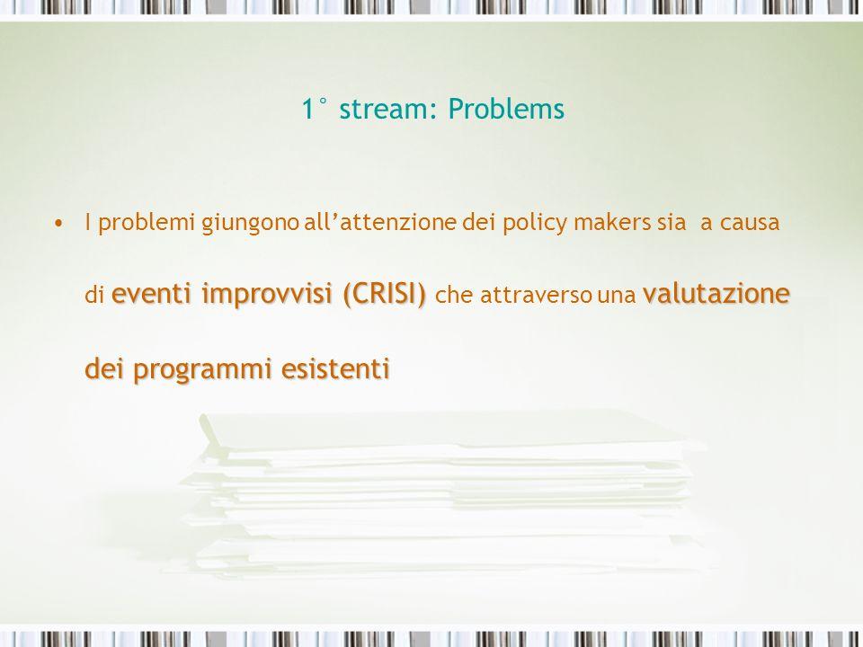 1° stream: Problems eventi improvvisi (CRISI) valutazione dei programmi esistentiI problemi giungono allattenzione dei policy makers sia a causa di ev