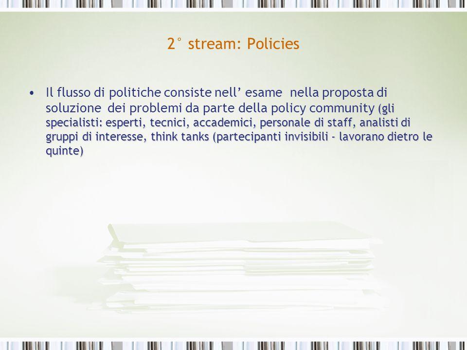 2° stream: Policies (gli specialisti: esperti, tecnici, accademici, personale di staff, analisti di gruppi di interesse, think tanks (partecipanti inv