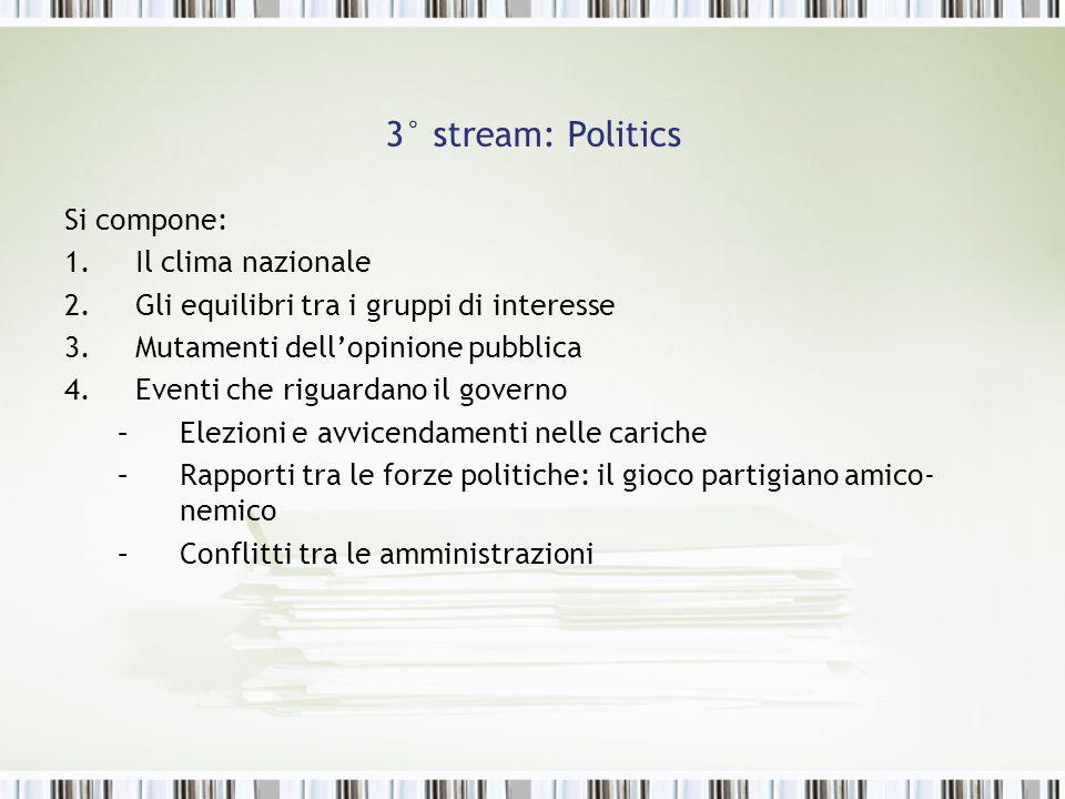 3° stream: Politics Si compone: 1.Il clima nazionale 2.Gli equilibri tra i gruppi di interesse 3.Mutamenti dellopinione pubblica 4.Eventi che riguarda