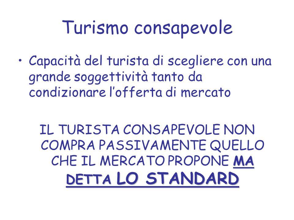 Turismo consapevole Capacità del turista di scegliere con una grande soggettività tanto da condizionare lofferta di mercato MA DETTA LO STANDARD IL TU