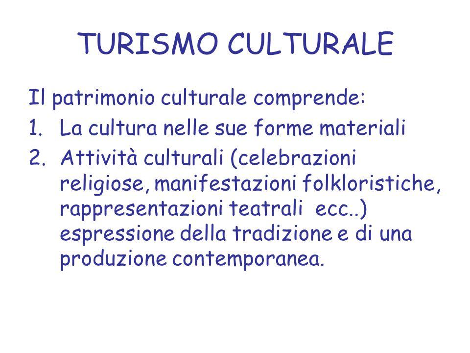 TURISMO CULTURALE Il patrimonio culturale comprende: 1.La cultura nelle sue forme materiali 2.Attività culturali (celebrazioni religiose, manifestazio