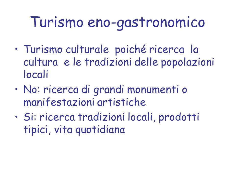 Turismo eno-gastronomico Turismo culturale poiché ricerca la cultura e le tradizioni delle popolazioni locali No: ricerca di grandi monumenti o manife