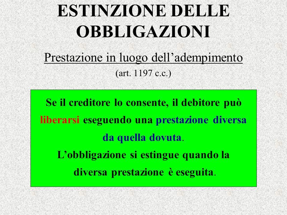 ESTINZIONE DELLE OBBLIGAZIONI Prestazione in luogo delladempimento (art. 1197 c.c.) Se il creditore lo consente, il debitore può liberarsi eseguendo u