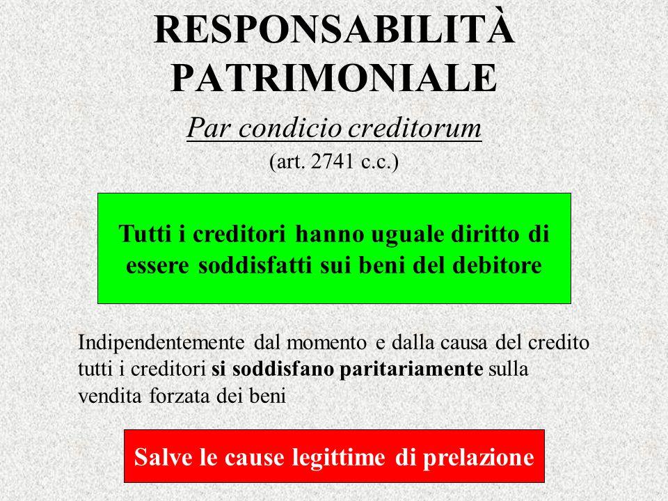 RESPONSABILITÀ PATRIMONIALE Par condicio creditorum (art. 2741 c.c.) Tutti i creditori hanno uguale diritto di essere soddisfatti sui beni del debitor
