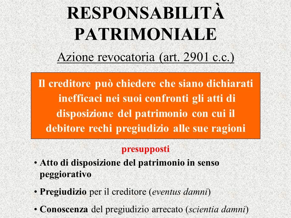 RESPONSABILITÀ PATRIMONIALE Azione revocatoria (art. 2901 c.c.) Il creditore può chiedere che siano dichiarati inefficaci nei suoi confronti gli atti