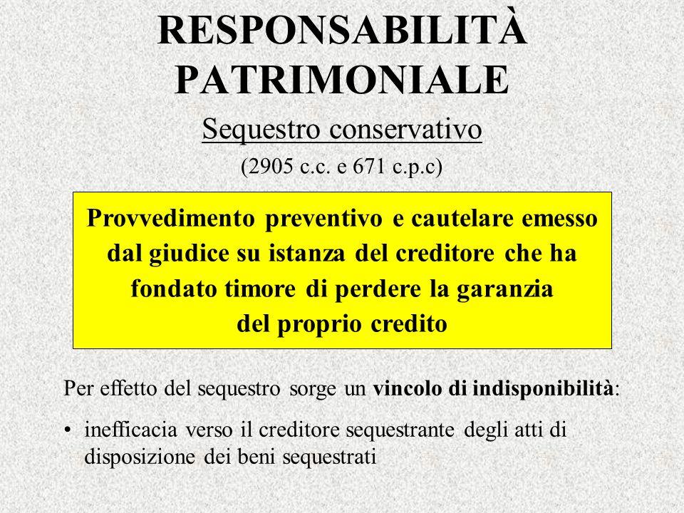 RESPONSABILITÀ PATRIMONIALE Sequestro conservativo (2905 c.c. e 671 c.p.c) Provvedimento preventivo e cautelare emesso dal giudice su istanza del cred
