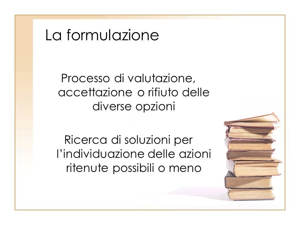 La formulazione Processo di valutazione, accettazione o rifiuto delle diverse opzioni Ricerca di soluzioni per lindividuazione delle azioni ritenute possibili o meno
