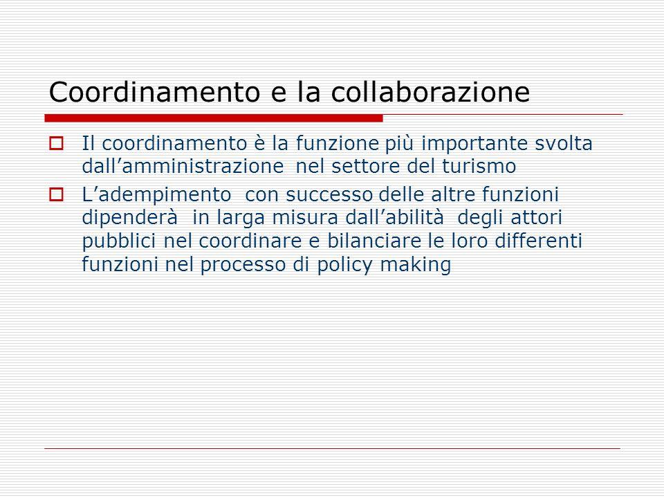 Coordinamento e la collaborazione Il coordinamento è la funzione più importante svolta dallamministrazione nel settore del turismo Ladempimento con successo delle altre funzioni dipenderà in larga misura dallabilità degli attori pubblici nel coordinare e bilanciare le loro differenti funzioni nel processo di policy making