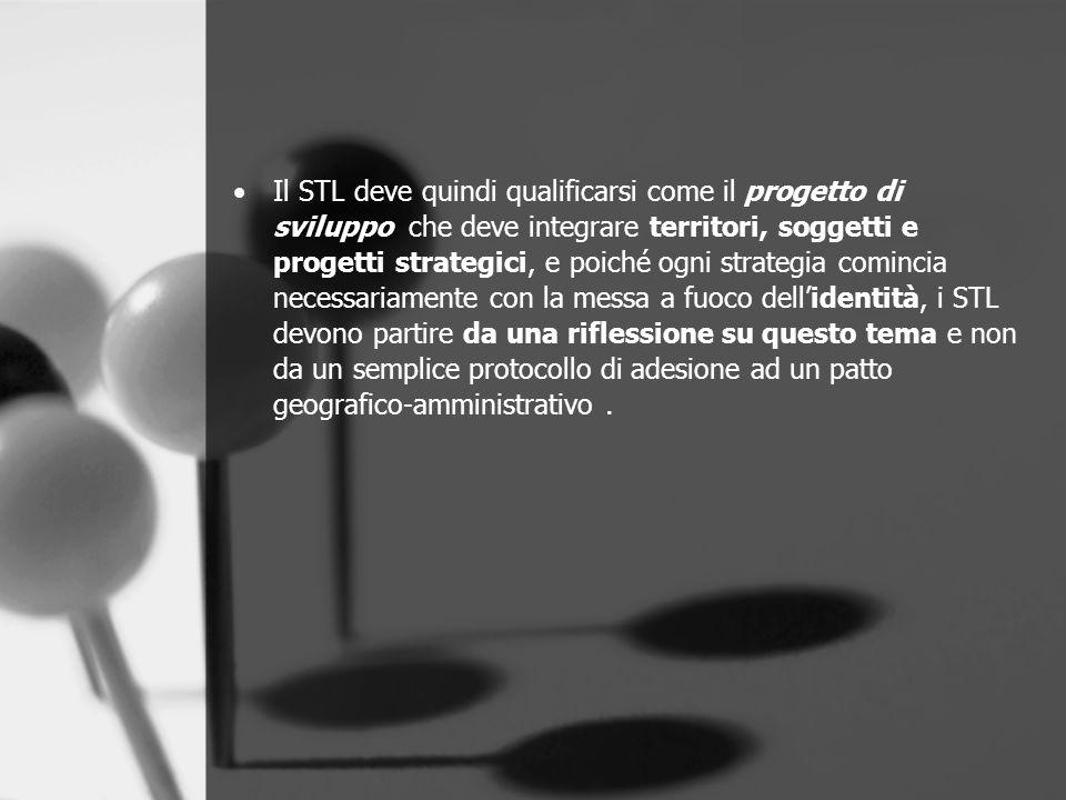 Il STL deve quindi qualificarsi come il progetto di sviluppo che deve integrare territori, soggetti e progetti strategici, e poiché ogni strategia com