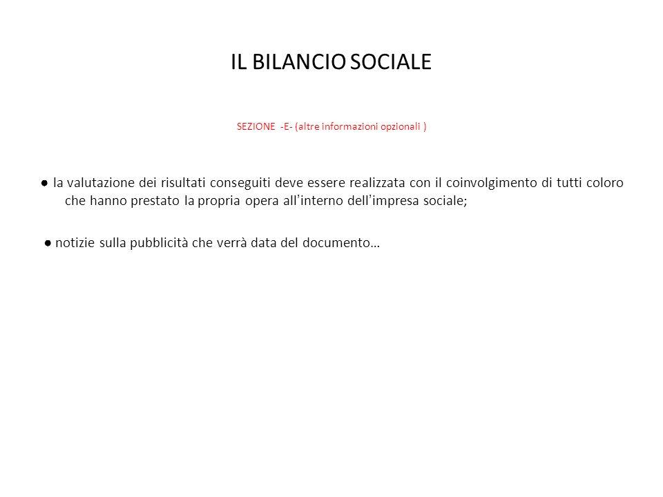 IL BILANCIO SOCIALE SEZIONE -E- (altre informazioni opzionali ) la valutazione dei risultati conseguiti deve essere realizzata con il coinvolgimento d