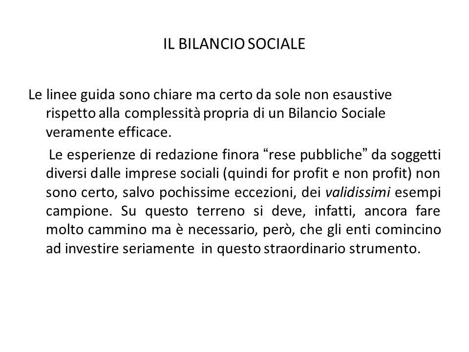 IL BILANCIO SOCIALE Le linee guida sono chiare ma certo da sole non esaustive rispetto alla complessità propria di un Bilancio Sociale veramente effic