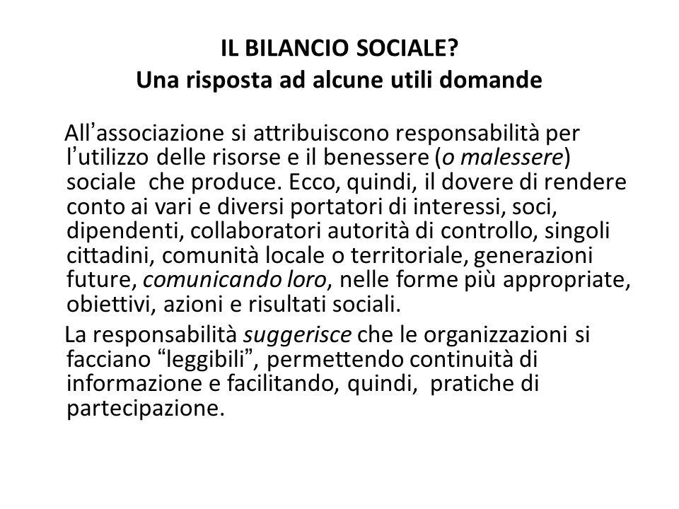 IL BILANCIO SOCIALE? Una risposta ad alcune utili domande Allassociazione si attribuiscono responsabilità per lutilizzo delle risorse e il benessere (