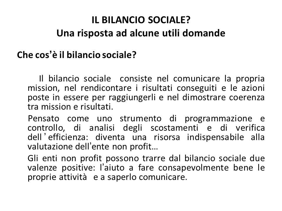 IL BILANCIO SOCIALE? Una risposta ad alcune utili domande Che cosè il bilancio sociale? Il bilancio sociale consiste nel comunicare la propria mission