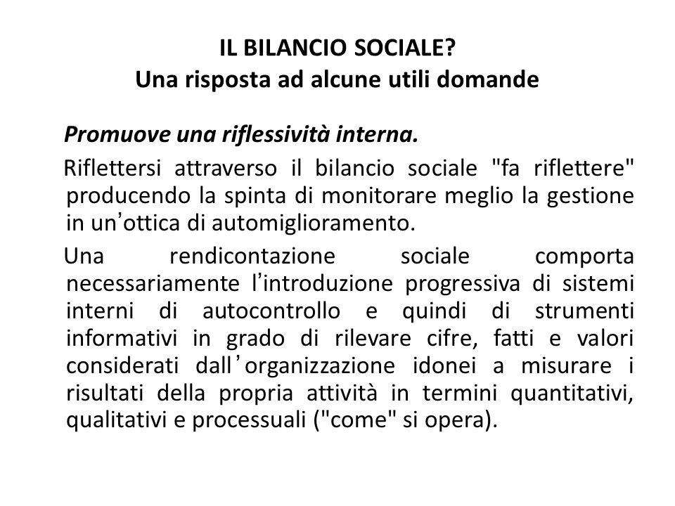 IL BILANCIO SOCIALE? Una risposta ad alcune utili domande Promuove una riflessività interna. Riflettersi attraverso il bilancio sociale