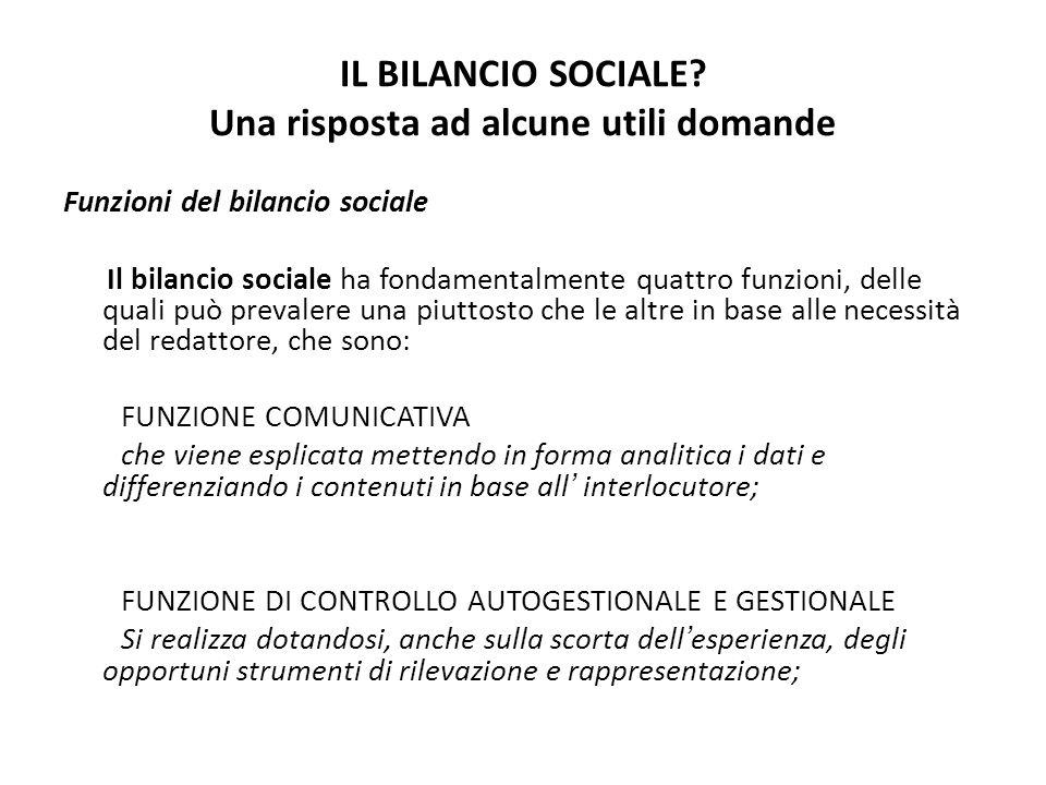 IL BILANCIO SOCIALE? Una risposta ad alcune utili domande Funzioni del bilancio sociale Il bilancio sociale ha fondamentalmente quattro funzioni, dell