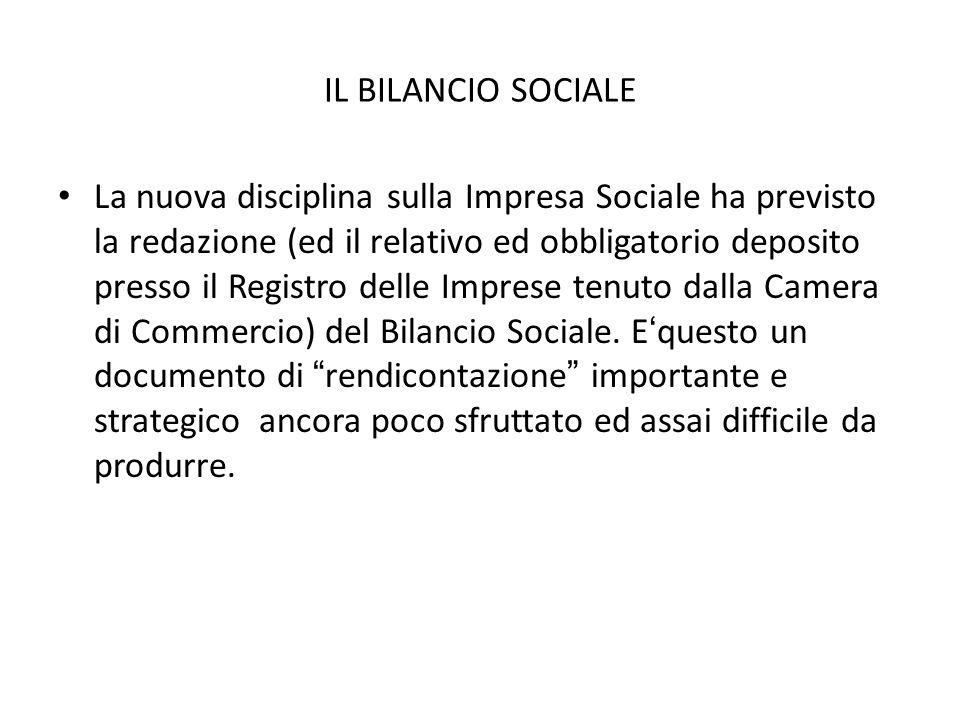 IL BILANCIO SOCIALE La nuova disciplina sulla Impresa Sociale ha previsto la redazione (ed il relativo ed obbligatorio deposito presso il Registro del
