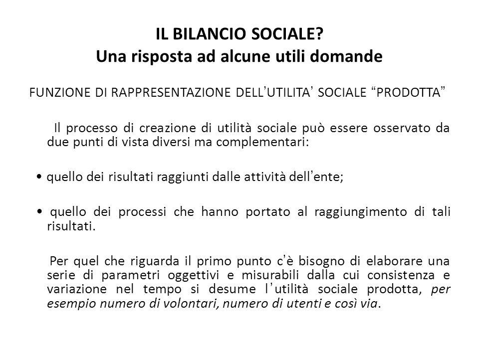 IL BILANCIO SOCIALE? Una risposta ad alcune utili domande FUNZIONE DI RAPPRESENTAZIONE DELLUTILITA SOCIALE PRODOTTA Il processo di creazione di utilit