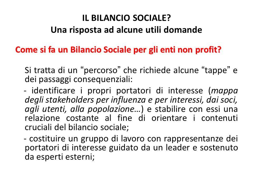IL BILANCIO SOCIALE? Una risposta ad alcune utili domande Come si fa un Bilancio Sociale per gli enti non profit? Si tratta di un percorso che richied