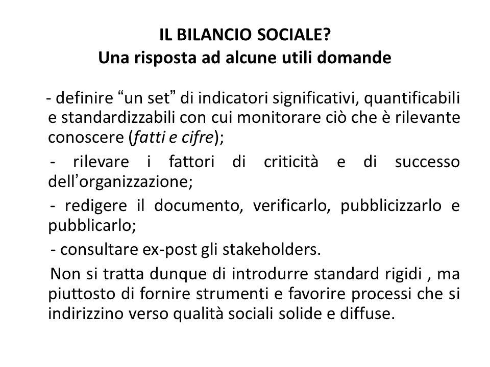 IL BILANCIO SOCIALE? Una risposta ad alcune utili domande - definire un set di indicatori significativi, quantificabili e standardizzabili con cui mon