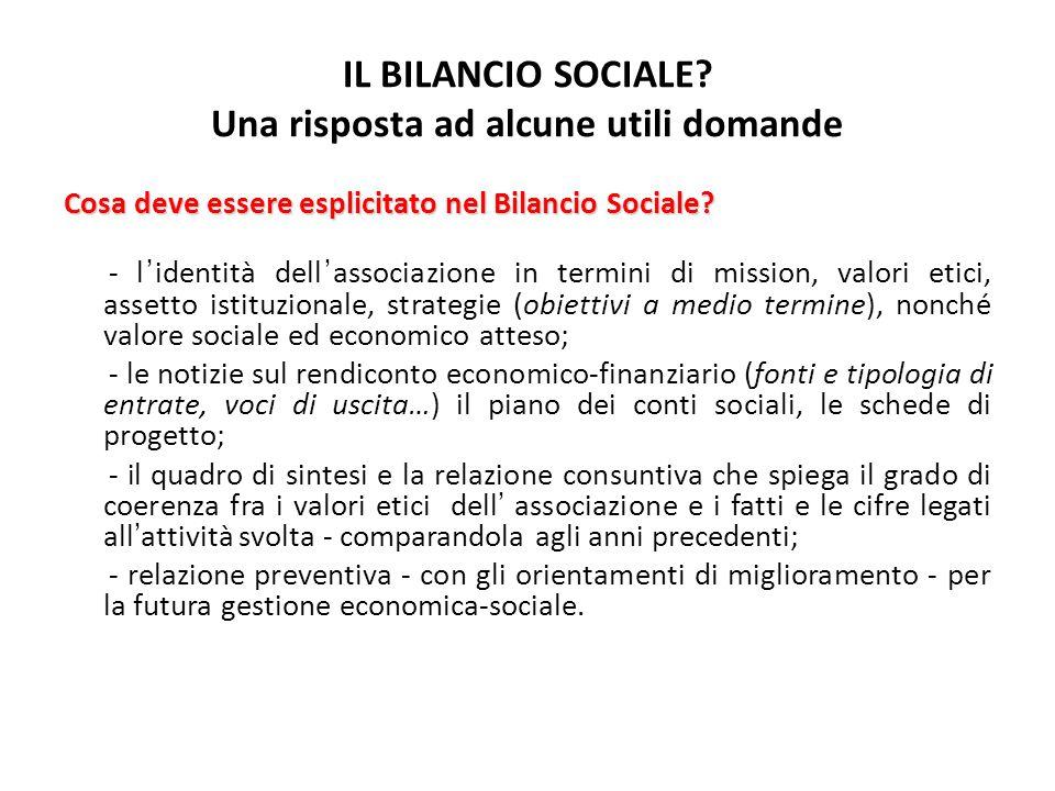 IL BILANCIO SOCIALE? Una risposta ad alcune utili domande Cosa deve essere esplicitato nel Bilancio Sociale? - lidentità dellassociazione in termini d