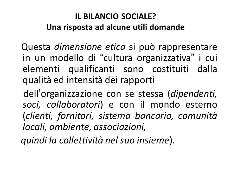 IL BILANCIO SOCIALE? Una risposta ad alcune utili domande Questa dimensione etica si può rappresentare in un modello di cultura organizzativa i cui el