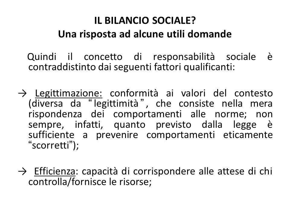 IL BILANCIO SOCIALE? Una risposta ad alcune utili domande Quindi il concetto di responsabilità sociale è contraddistinto dai seguenti fattori qualific
