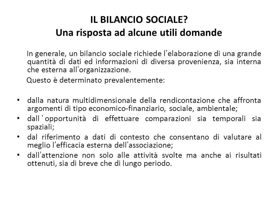 IL BILANCIO SOCIALE? Una risposta ad alcune utili domande In generale, un bilancio sociale richiede lelaborazione di una grande quantità di dati ed in
