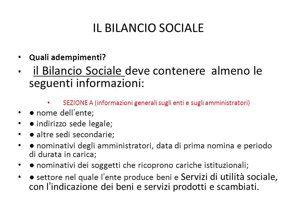 IL BILANCIO SOCIALE Quali adempimenti? il Bilancio Sociale deve contenere almeno le seguenti informazioni: SEZIONE A (informazioni generali sugli enti