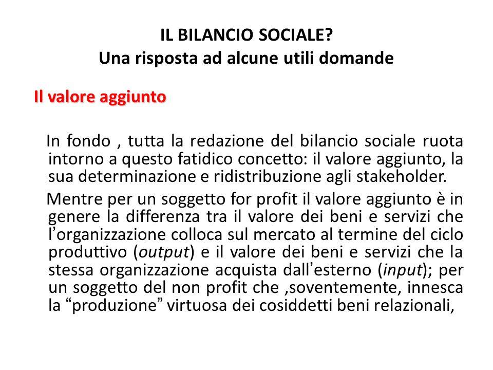 IL BILANCIO SOCIALE? Una risposta ad alcune utili domande Il valore aggiunto In fondo, tutta la redazione del bilancio sociale ruota intorno a questo