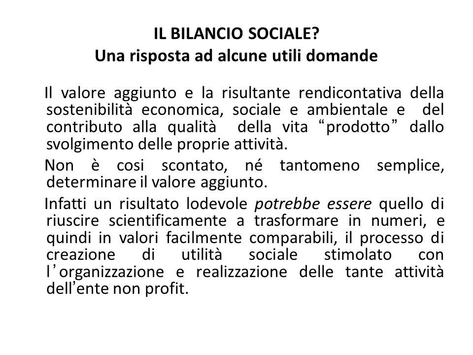IL BILANCIO SOCIALE? Una risposta ad alcune utili domande Il valore aggiunto e la risultante rendicontativa della sostenibilità economica, sociale e a