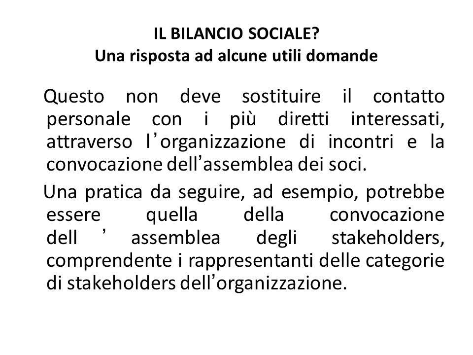 IL BILANCIO SOCIALE? Una risposta ad alcune utili domande Questo non deve sostituire il contatto personale con i più diretti interessati, attraverso l
