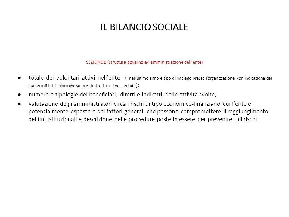 IL BILANCIO SOCIALE SEZIONE B (struttura governo ed amministrazione dellente) totale dei volontari attivi nellente ( nellultimo anno e tipo di impiego