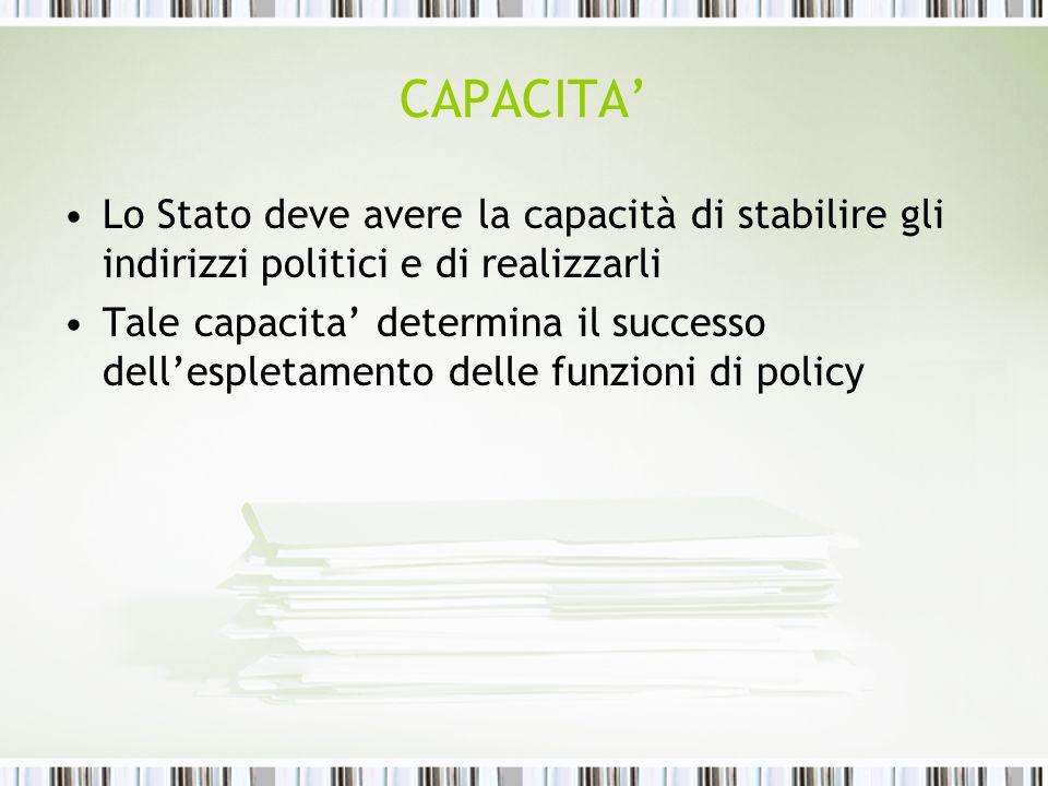 CAPACITA Lo Stato deve avere la capacità di stabilire gli indirizzi politici e di realizzarli Tale capacita determina il successo dellespletamento del