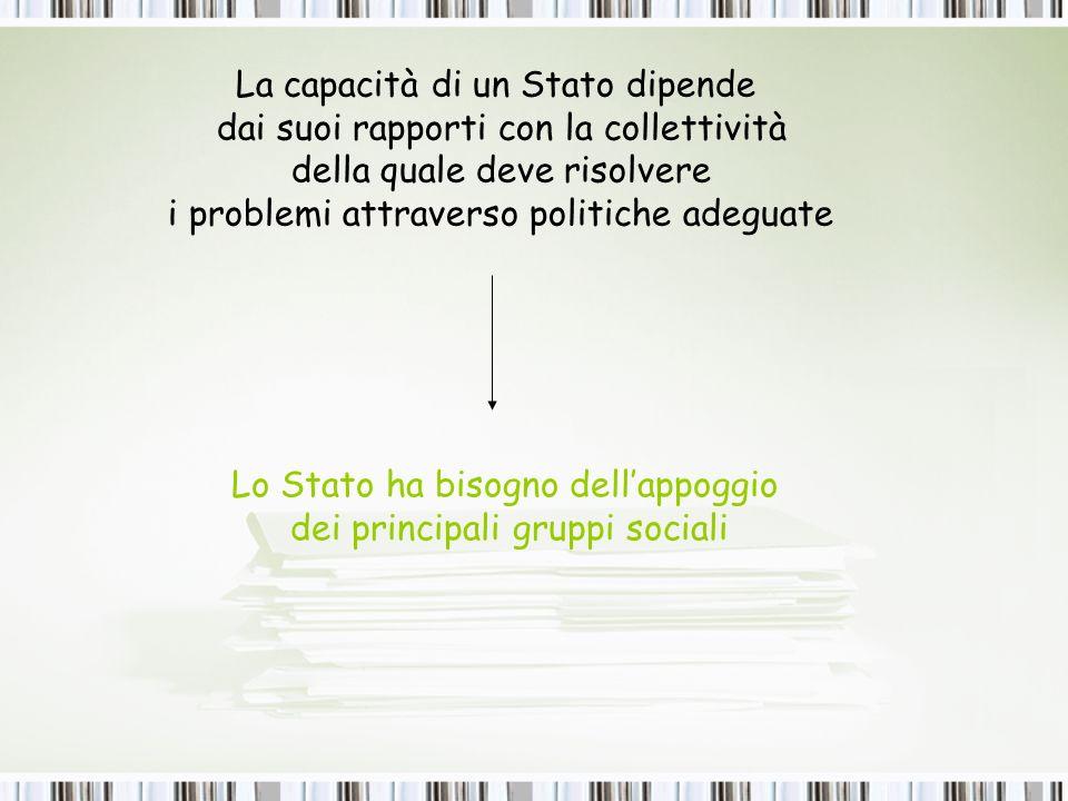 La capacità di un Stato dipende dai suoi rapporti con la collettività della quale deve risolvere i problemi attraverso politiche adeguate Lo Stato ha