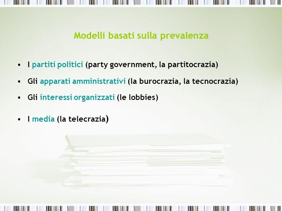 Modelli basati sulla prevalenza I partiti politici (party government, la partitocrazia) Gli apparati amministrativi (la burocrazia, la tecnocrazia) Gl