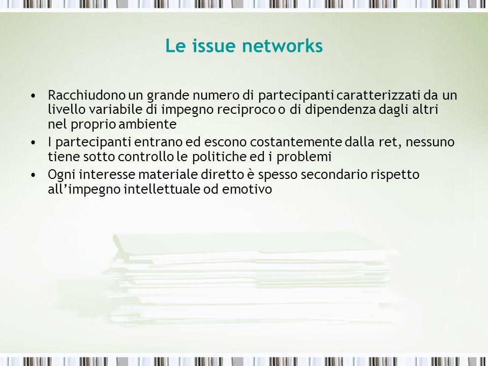 Le issue networks Racchiudono un grande numero di partecipanti caratterizzati da un livello variabile di impegno reciproco o di dipendenza dagli altri
