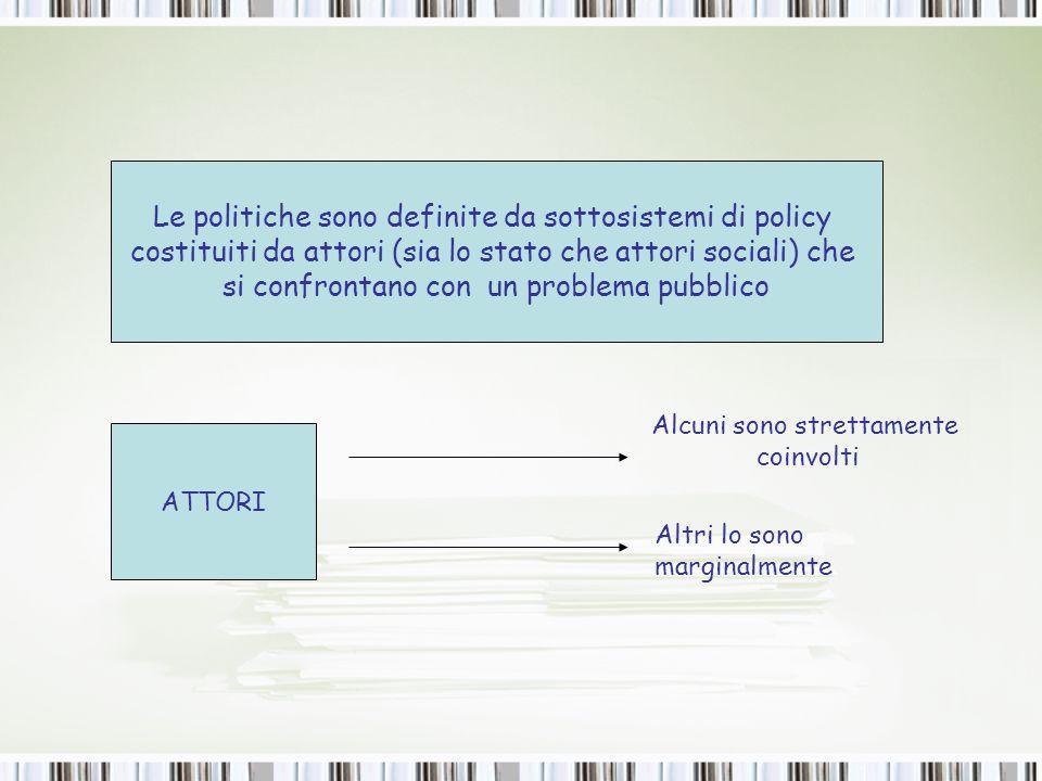 ADVOCACY COALITIONS (Coalizioni di sostegno) ATTORI SIA STATALI CHE SOCIALI QUALUNQUE LIVELLO DI GOVERNO COMBINANO PERFETTAMENTE IL RUOLO DI CONOSCENZA ED INTERESSE NEL PROCESSO DI POLICY PARTECIPANO AL PROCESSO DI POLICY AL FINE DI UTILIZZARE LAPPARATO GOVERNATIVO PER IL RAGGIUNGIMENTO DEI PROPRI FINI