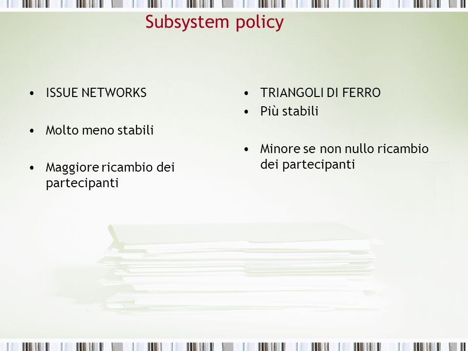Subsystem policy ISSUE NETWORKS Molto meno stabili Maggiore ricambio dei partecipanti TRIANGOLI DI FERRO Più stabili Minore se non nullo ricambio dei